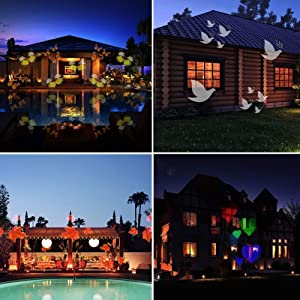 12W Christmas Projector Lights, Jeniulet 2019 Newest Version 12 Patterns Waterproof Decorations Indoor LED White Moving Light Snowflake Lamp for Holiday Party (Color: Black, Tamaño: 13.4 x 4.7)
