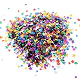 12 Pack Colorful Manicure Stars Shape Glitter Confetti, Simuer Slime Supplies Glitter Sequins Paillette Glitter Pack Shake Jars DIY Art Craft for Slime,Nail Art Polish,Scrapbooking,Party Decoration (Tamaño: Star Sequins)