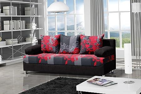 Schlafsofa Dover Sving mit Dekorstoff, Sofa mit Bettkasten und Schlaffunktion, Bettsofa, Schlafcouch mit Chromfuße, Couch vom Hersteller, Couchgarnitur (Alova 04 + Sving schwarz)
