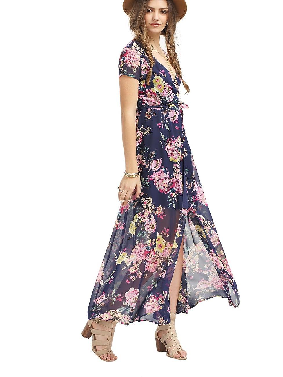 Milumia Women's Vintage Floral Print Split Wrap Maxi Dress 2