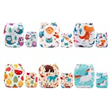 ALVABABY 6pcs Pack Pocket Washable Reusable Cloth Diaper with 2 Inserts Each 6DM13 (Color: Girl Color, Tamaño: All in one)