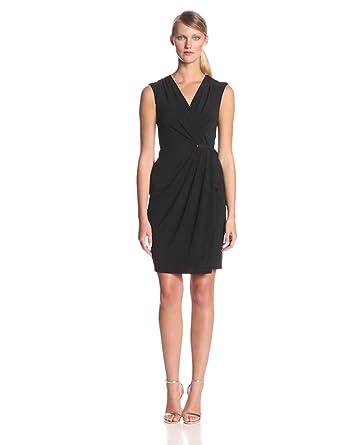 Ivy & Blu Women's V-Neck Faux Wrap Sheath Dress, Black, 2