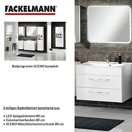 Fackelmann SCENO 3-Piece Bathroom Furniture Set Washbasin / Sink and Mirror