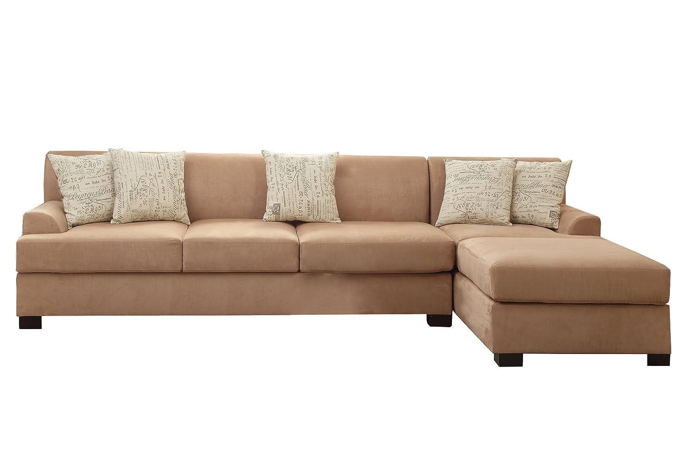 Poundex Bobkona Hudson Microsuede 4-Seat Reversible Sectional Sofa - Tan