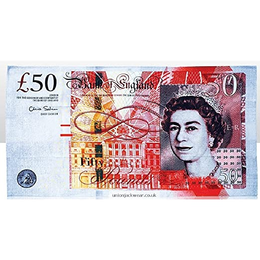 UK British 50 Pound Bank Note Tea Towel