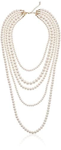 "Faux Cream Pearl Gold-Tone Multi-Strand Necklace, 34""+2"""