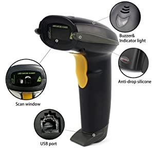 UNIDEEPLY, Barcode Scanner 1D Handheld Wired Barcode Reader, USB Laser Barcode Scanner, POS Scanning Reader for Retails (Handheld)