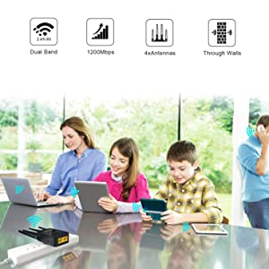 WiFi Range Extender, WiFi Repeater with 5GHz & 2.4GHz Dual Band Up to 1200Mbps High Speed, WiFi Signal Booster Amplifier with AP/Repeater/Router Mode for Home Office (Color: 1200Mbps-6)