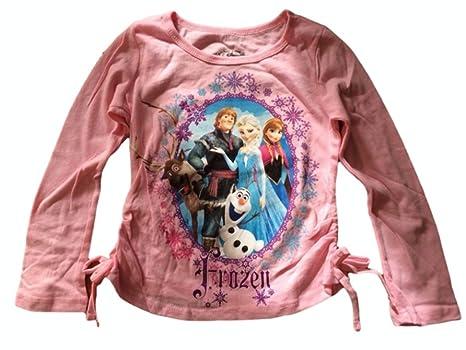 Amazon.com: Girl's Disney Frozen Elsa Kristoff Anna Olaf Sven Pink T-Shirt: Clothing