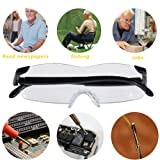 LE4U Big Vision Glasses as Seen on TV - Big Vision Eyeglasses with 160% Magnification Convenient and Durable - Unisex - Black Frameless Magnifying Glasses - Contain EVA Leather Zipper Glasses Case (Color: Black, Tamaño: 6.49