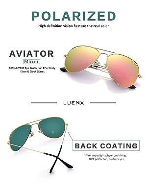 e422f25740 LUENX Aviator Womens Mens Sunglasses Polarized Pink Mirrored lenses Gold  Frame UV 400 Protection Classic Style