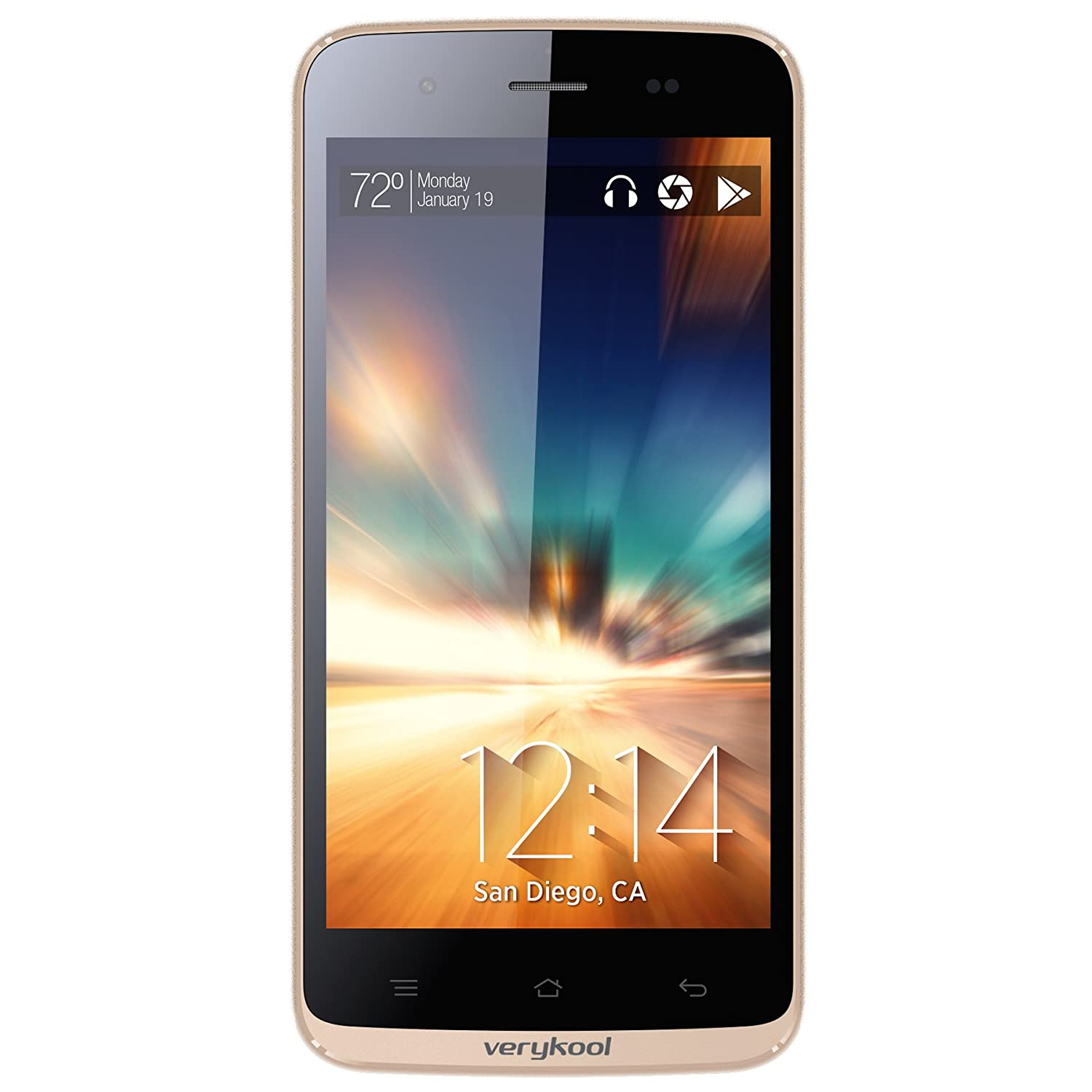 """verykool s5017 Dorado 4G HSPA+ 5.0"""" IPS LCD Unlocked GSM Smartphone Android 4.0 Bluetooth 1.3GHz Dual-Core 8MP WiFi USB MP3 Email AT&T TMobile (Yellow Gold)"""