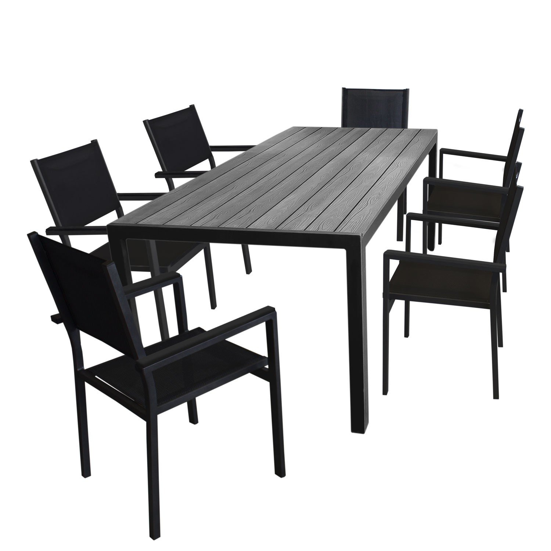 7tlg. Gartengarnitur Aluminium Gartentisch, Tischplatte Polywood, 205x90cm + 6x Aluminium Stapelstuhl, 4x4 Textilenbespannung, schwarz - Gartenmöbel Set Sitzgarnitur Sitzgruppe