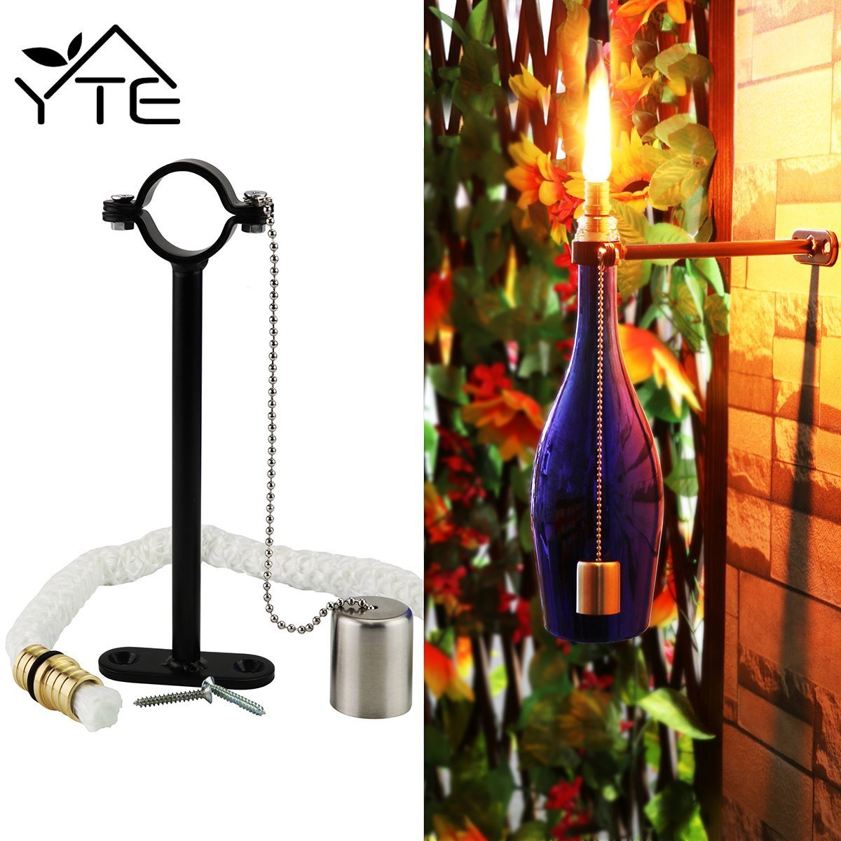 Outside Lights Wickes: YTE Tiki Torch Kit Wine Bottle With Wicks Brass For