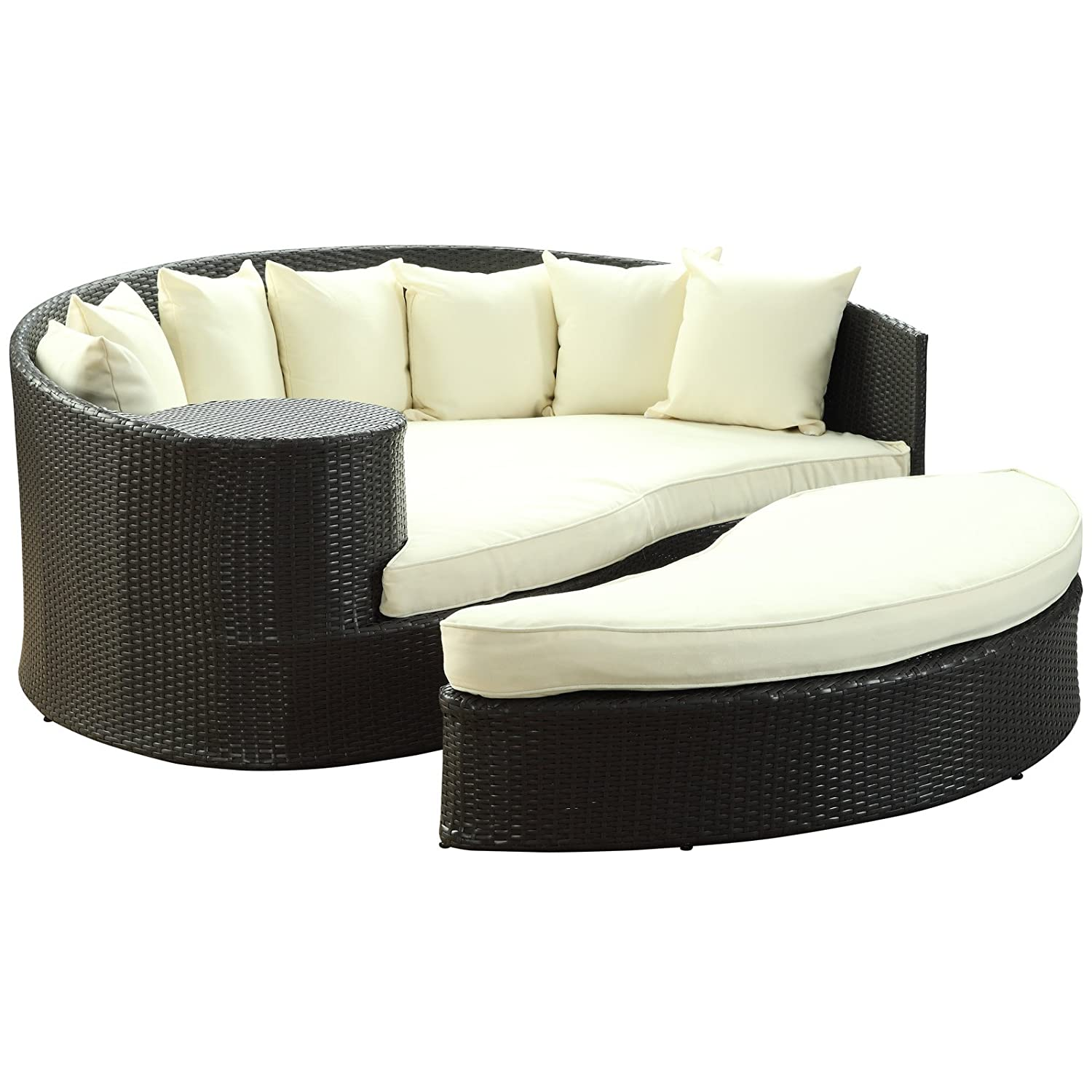 Outdoor Wicker Daybed with Ottoman All Weather Synthetic