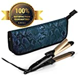 2-in-1 Mini Hair Straightener Travel Flat Iron/Curling Iron Dual Voltage 374 Degree Temperature Nano Titanium - Insulated Carry Bag Included (Black) (Color: Black)