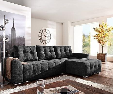 Couch Tania Schwarz 295x170 mit Schlaffunktion Sofa