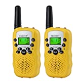 Proster Walkie Talkies New Version T-388 LCD 22 Channels Wireless Walky Talky Two-Way Radios Long Range for Supermarkets Shopping Centres Festivals(Yellow) (Color: Yellow)