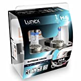 LUNEX H4 SUPREME VISION 472 Headlight Halogen Bulbs 12V 60/55W P43t + 100% more light 3700K duobox (2 units)