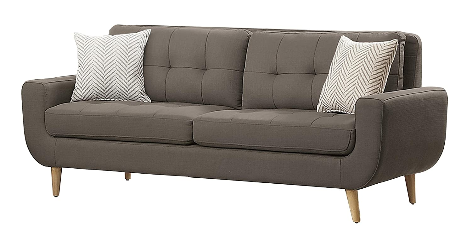 Homelegance Deryn Mid-Century Modern Sofa with Tufted Back and Two Herringbone Throw Pillows - Grey