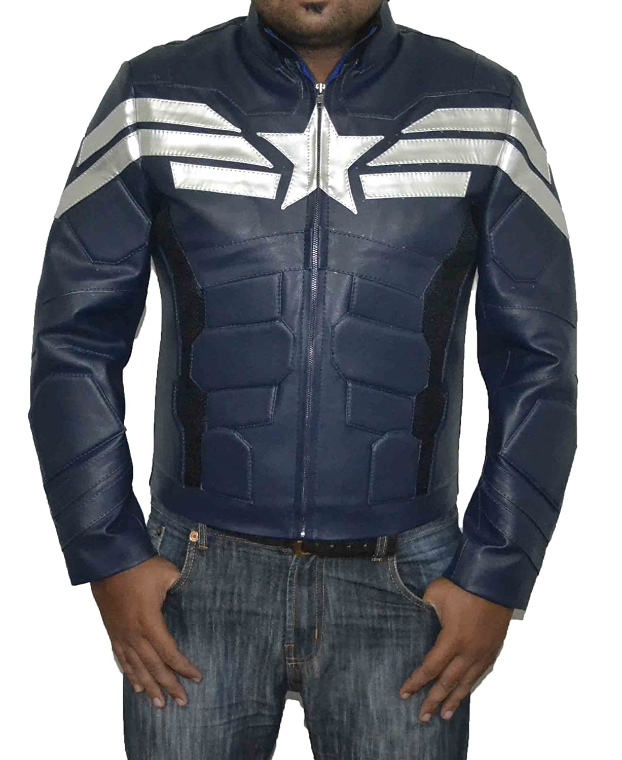 CAPTAIN AMERICA 2 CHRIS EVANS BLACK SLIM FIT SHEEP LEATHER JACKET