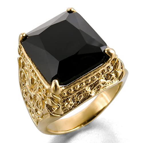 Men-s-Stainless-Steel-Glass-Ring-Gold-Black-Knight-Fleur-De-Lis-Dragon-Claw-Engraved-Vintage