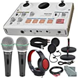 Tascam US-42 MinStudio Creator Audio Interface for Podcasting W/Platinum Bundle W/Cables + 2 Samson Microphones + Headphones + Pop Filters +Goose Neck Stands + Fibertique Cleaning Cloth (Tamaño: US-42)