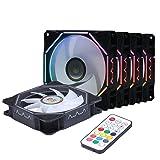 LEDdess Rainbow Wire Addressable RGB LED Fans, Quiet Edition High Airflow Adjustable Colors 120mm Fan for PC Cases, CPU Coolers(5pcs RGB Fans kit, RF Remote Controller, D Series) (Color: Wire Rainbow Fan 5pcs Pack)