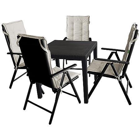 9tlg. Gartengarnitur Sitzgruppe Balkonmöbel Terrassenmöbel Gartenmöbel Set - Gartentisch, Kunststoff, 79x79cm, Rattan-Optik + 4x Hochlehner, 7-fach verstellbare Lehne, klappbar + 4x Sitzauflage