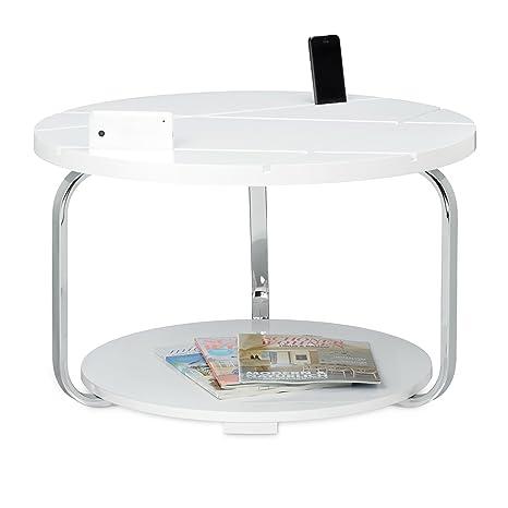 Relaxdays Couchtisch mit Tablethalterung HBT: 42 x 70 x 70 cm großer runder Holztisch mit Rollen als Halter fur Smartphones und Tablets moderner Tisch als Wohnzimmertisch und Tabletständer, weiß