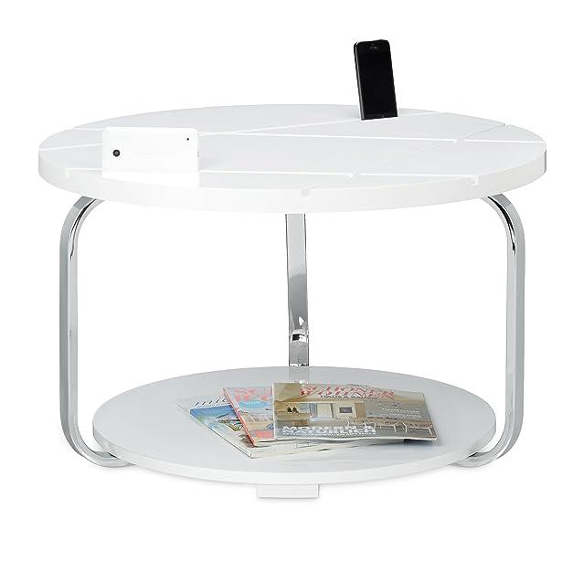 Relaxdays 10020365 Tavolino/Tavolo per Soggiorno, Forma Rotonda, Multiuso, Metallo Cromato, 85 X 70 X 42 cm, Bianco