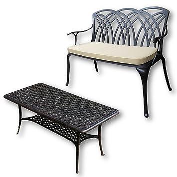 Lazy Susan - CLAIRE Rechteckiger Garten Beistelltisch mit 1 APRIL Gartenbank - Gartenmöbel Set aus Metall, Antik Bronze (Beiges Kissen)