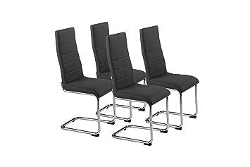 Cavadore Schwingstuhl 4-er Set Gaby / Freischwinger ohne Armlehne in modernem Design / Lederimitat / Stuhlset Schwarz / 56 x 44 x 105 cm (T x B x H)