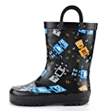 KomForme Kids Rain Boots, Waterproof Rubber Printed with Handles in Various Prints and Different Sizes (Color: Robot Party, Tamaño: 5 M US Toddler)