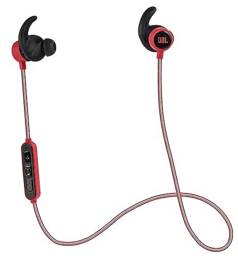 JBL Reflect Mini BT Ecouteurs Sport Intra-Auriculaires Légers sans Fil Bluetooth Résistants à la Transpiration avec Câble Réflecteur Rouge