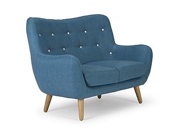 Sofa Frenco 2-Sitzer blau Retro