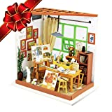 CHRISTMAS SALE | Miniature Dollhouse DIY Kit with LED Light - ART STUDIO - Building Crafts Puzzles Mini Toys - Top Christmas Gift for Adults and Kids - Best Educational Gifts for Boys and Girls