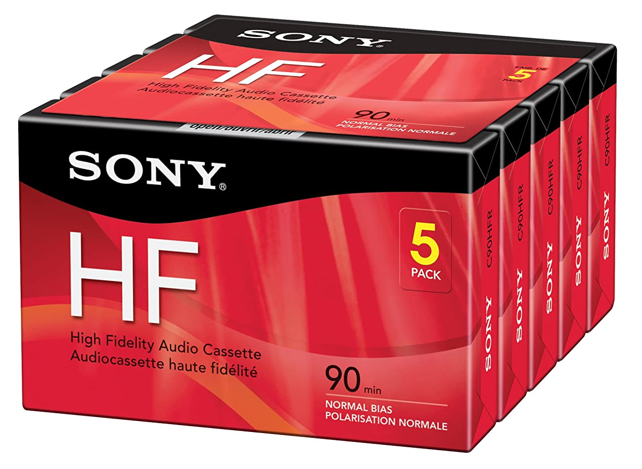 Sony 5C90HFR 90-Minute HF Cassette Recorders 5-Brick 0