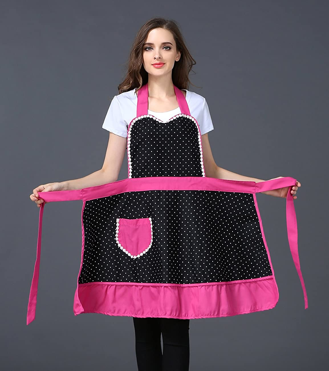Cute Lovely Black Lace Aprons with Pocket for Women Girls Vintage Aprons Kitchen Cooking Apron 2
