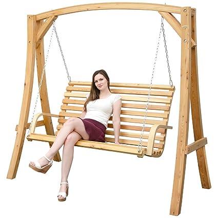 Columpio para toda la familia, 3 plazas | madera de alerce | completo de banco y robusto soporte para colgarlo | Balancin de jardín y hogar