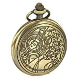 SIBOSUN Pocket Watch Doctor Who Confession Dial Pattern Dr. Who Men Antique Bronze Case Quartz Chain