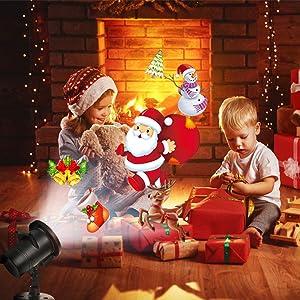 Tcamp 20 Slide Christmas Projector Lights, LED Christmas Snowflake Projector Lights, Upgraded 20 Slides Moving Patterns LED Landscape Spotlight, Waterproof Xmas Christmas Lights Outdoor Indoor (Color: Multicolor)
