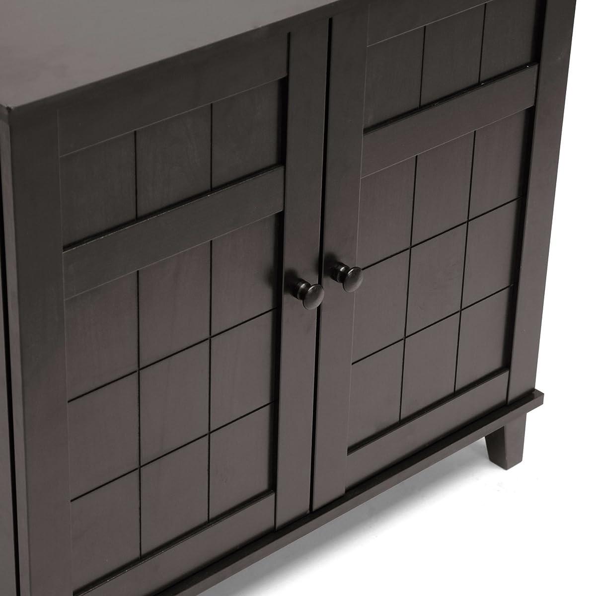 Baxton Studio Glidden Wood Modern Shoe Cabinet, Short, Dark Brown