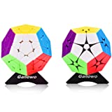 Ganowo Megaminx Speed Cube Puzzle 2x2 3x3 Magic Cubes Twist Set Stickerless Brain Teaser Game Fidget Toys with 2 pcs Extra Cube Stand, Pink (Color: 2x2 3x3 Megaminx Set)
