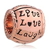 ReisJewelry Live Love Laugh Charm Trinity Ring Sprial Charms Bead for Bracelet (Rose Gold)