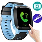 Kids Smart Watches,GBD GPS Tracker Kids Smart Watch for Children Girls Boys Birthday Gifts with Camera SIM Calls Anti-lost SOS Smartwatch for iPhone Android Smartphone (BlueBlack)