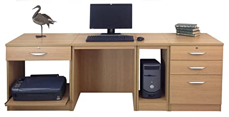 Home Office Furniture UK Computer Table Desk with Shelf HUTCH Bookcase Set, Wood, Classic Oak, Wood Grain Profile, 4-Piece