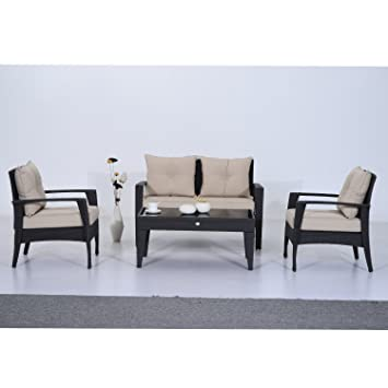 Outsunny Seater Rattan Garden Outdoor Patio Wicker Weave Chairs Table Conservatory Furniture Sofa Set - Grey (4-Piece)