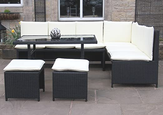 Rattan Corner Sofa Dining Set Outdoor Garden Furniture in Black