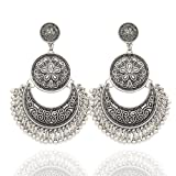 Silver Plated Q&Q Fashion Ethnic Bali Jhumka Jhumki Etched Lotus Mexico Gypsy Dangle Earrings